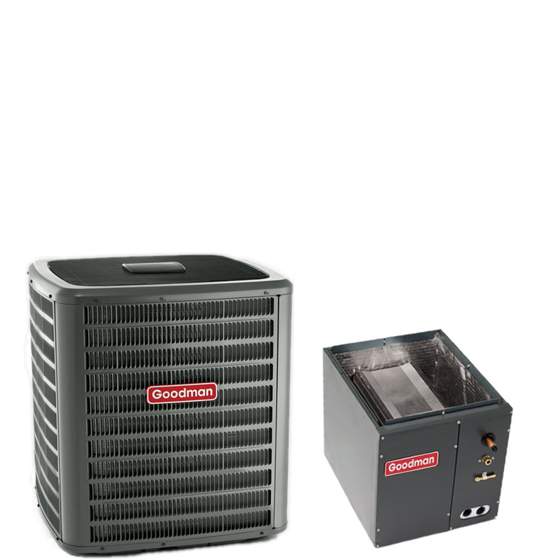 """1.5 Ton Goodman 16 SEER R410A Air Conditioner Condenser with 14"""" Wide Vertical Cased Evaporator Coil"""