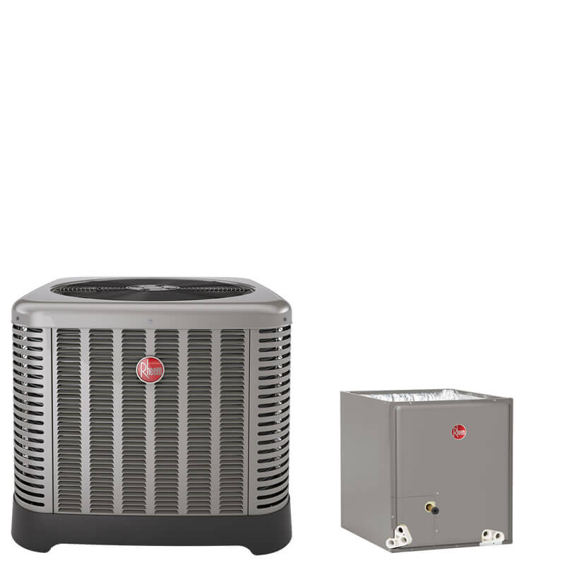 "1.5 Ton Rheem 16 SEER R410A Air Conditioner Condenser with 14"" Wide Multi-Position Cased Evaporator Coil"
