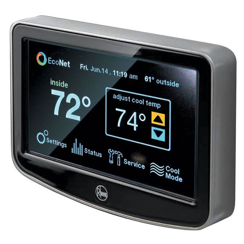 Rheem EcoNet LCD Touchscreen Wi-Fi Programmable Thermostat Control Center