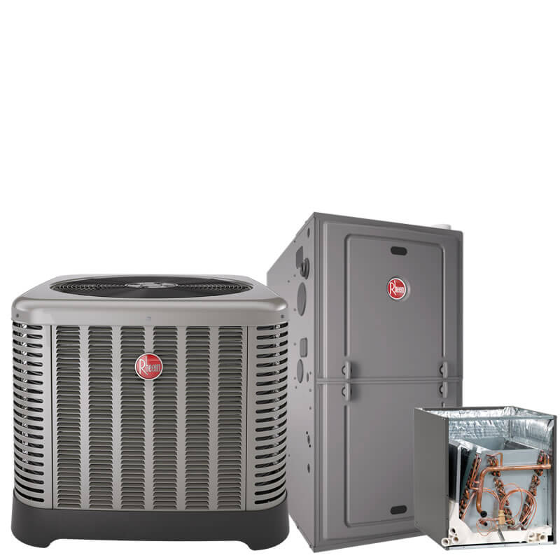 2 Ton Rheem 15.1 SEER R410A 96% AFUE 60,000 BTU Two-Stage Variable Speed Multi-Position Gas Furnace Split System