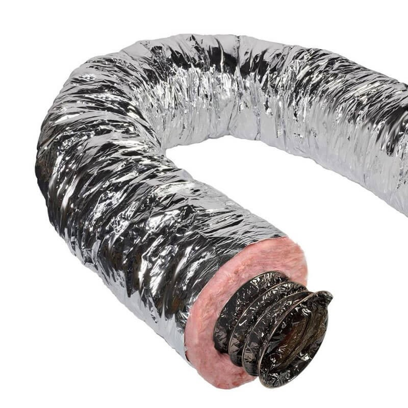 6 Inch Insulated Flexible Duct with Metalized Jacket - R6