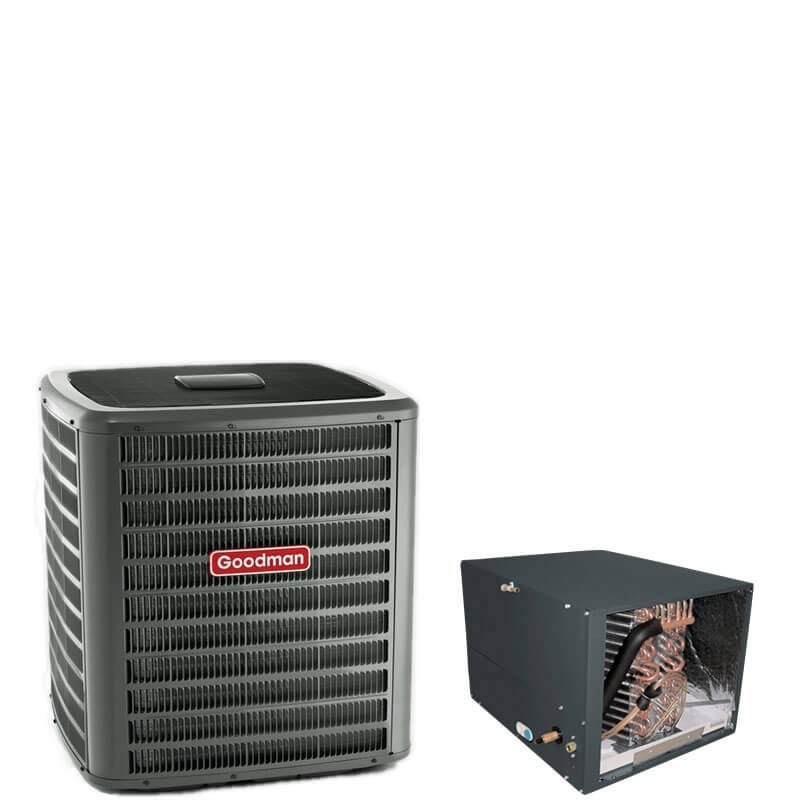 """3 Ton Goodman 14 SEER R410A Air Conditioner Condenser with 24.5"""" Tall Horizontal Cased Evaporator Coil"""