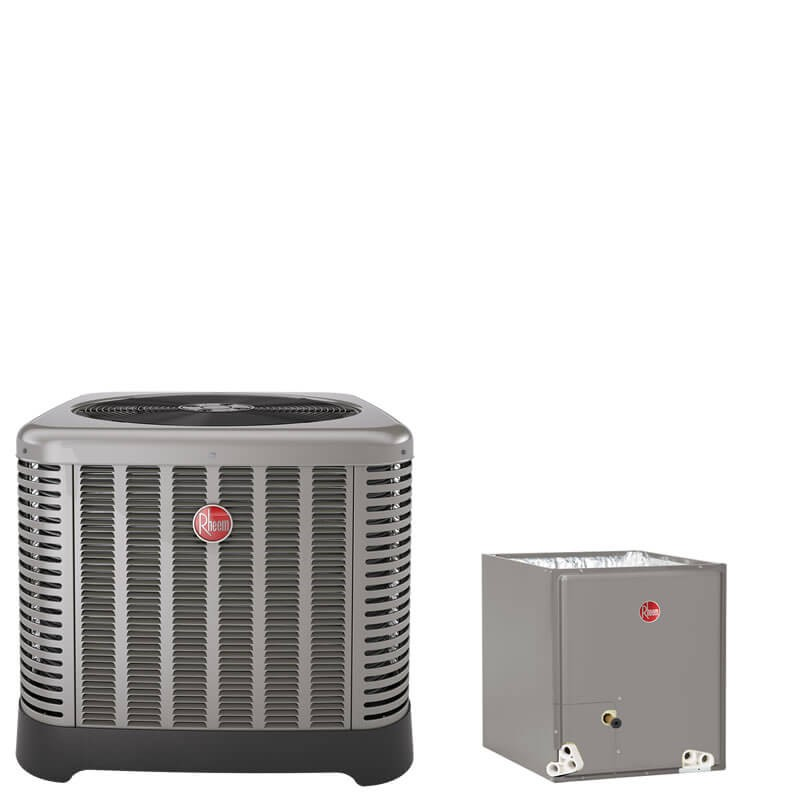 """3 Ton Rheem 16 SEER R410A Air Conditioner Condenser with 21"""" Wide Multi-Position Cased Evaporator Coil"""