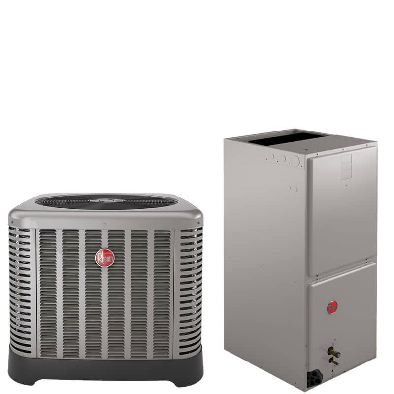 "3 Ton Rheem 15.5 SEER R410A Air Conditioner Split System (35"" Tall Low Profile Air Handler)"