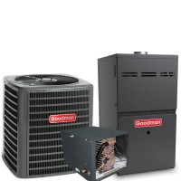 3.5 Ton Goodman 14.5 SEER R410A 80% AFUE 100,000 BTU Two-Stage Variable Speed Horizontal Gas Furnace Split System