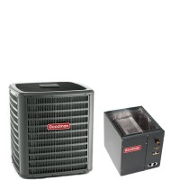 "2 Ton Goodman 16 SEER R410A Heat Pump Condenser with 17.5"" Wide Vertical Cased Evaporator Coil"