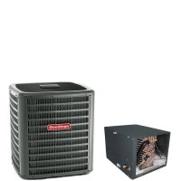"""4 Ton Goodman 16 SEER R410A Heat Pump Condenser with 24.5"""" Tall Horizontal Cased Evaporator Coil"""