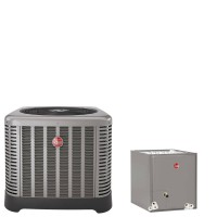"3 Ton Rheem 15 SEER R410A Heat Pump Condenser with 21"" Wide Multi-Position Cased Evaporator Coil"