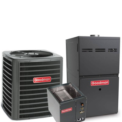 2.5 Ton Goodman 15 SEER R410A 80% AFUE 80,000 BTU Single Stage Downflow Gas Furnace Split System