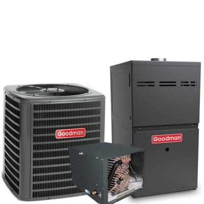 3.5 Ton Goodman 15 SEER R410A 80% AFUE 100,000 BTU Two-Stage Variable Speed Horizontal Gas Furnace Split System