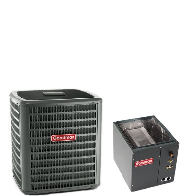 "2 Ton Goodman 14 SEER R410A Heat Pump Condenser with 14"" Wide Vertical Cased Evaporator Coil"