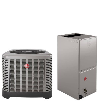 """5 Ton Rheem 14 SEER R410A Air Conditioner Split System (35"""" Tall Low Profile Air Handler) with 10KW Heat Kit"""