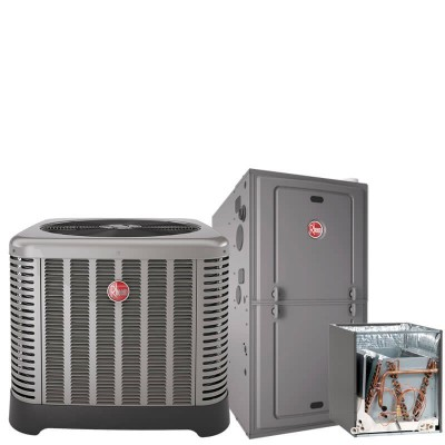 3 Ton Rheem 15.5 SEER R410A 80% AFUE 50,000 BTU Two-Stage Variable Speed Upflow/Horizontal Gas Furnace Split System
