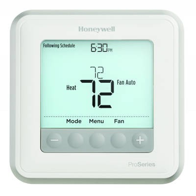 Honeywell T6 Pro Programmable/Non-Programmable Thermostat (Heat Pump: 3 Heat/2 Cool - Conventional: 2 Heat/2 Cool)